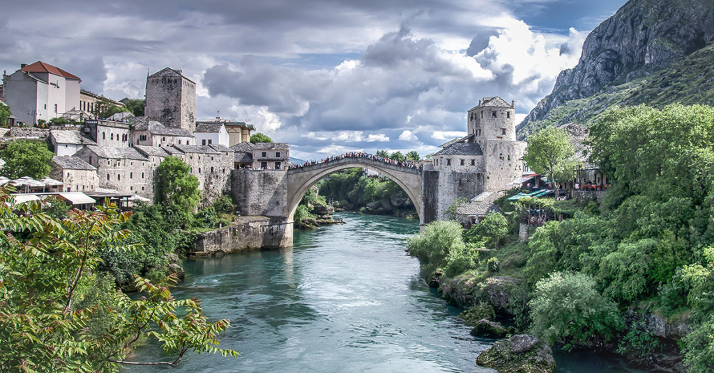 Mostar, Bosnia Herzagovina - May 1, 2014: Mostar river and bridge running through Mostar village